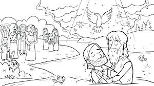 Jesus Being Baptized Coloring Page Cartoon Of Baptism With John The