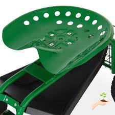 best choice s mobile rolling garden work seat w tool tray and basket green