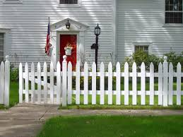 fence design plans. Simple White Picket Fence In Front Of A Gray House. Design Plans E