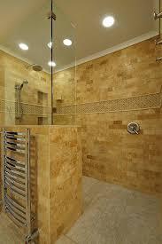 Doorless Walk in Shower Bathroom Traditional with Door Less Walk in Shower  Travertine