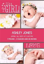 Must Be Love Baby Girl Birth Announcement Template Free