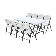 lifetime 6 ft white granite stacking table and chair combo 8 pack