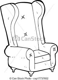 armchair drawing. vector - cartoon old armchair drawing