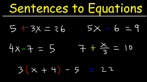 translating sentences into equations solving word problems writing two step equations