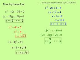 5 now try these five solve quadratic equations by factoring
