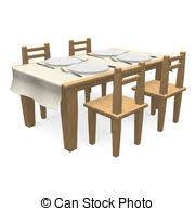 dinner table clipart. Brilliant Clipart Cutlery On Wooden Dining Table  3D Render Illustration Intended Dinner Clipart