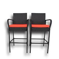 patio 2pcs black rattan outdoor bar stools orange