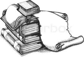 paper scroll and books in a sketch style hand drawn vector ilration vector