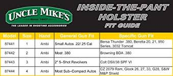 Uncle Mikes Holster Fit Chart Thelifeisdream