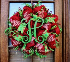 This fun design starts with a red paper mesh base (purchased at and is  decorated with splashes of red burlap ribbon, lime polka dot burlap ribbon,  ...