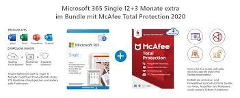 Microsoft 365 Single 12+3 Monate Abonnement   1 Nutzer   Mehrere PCs/Macs,  Tablets und mobile Geräte   Download Code + McAfee Total Protection 2020    6 Geräte   12 Monate Abonnement   Download Code: Amazon.de: Software