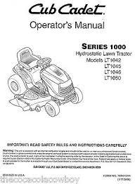 cub cadet home maintenance manual engine parts books 772 3958 cub cadet models lt1042 lt1045 lt1046 and lt1050 owners operators manual