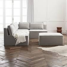 quattro sharkskin light grey velvet tufted 4 piece sectional sofa