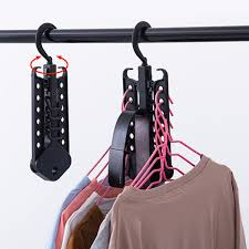 Clothes Hanger With Hooks 360 Degree Rotation Space Saving Black Hanger  Foldable Plastic Collapsible Magic Closet Organizer-in Drying Racks & Nets  from Home ...