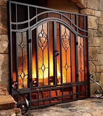 beveled glass fireplace screens