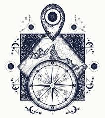 Vektorová Grafika Mountain Ukazatel Mapy A Kompasu Tetování