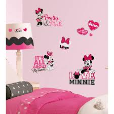 mickey friends minnie loves pink l stick wall decals com