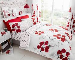 luxury poppy red duvet cover bedding set with pillow cases curtains all sizes