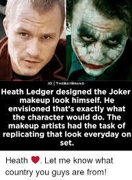 memes heath ledger and the joker ig thebatbrand heath ledger designed the joker