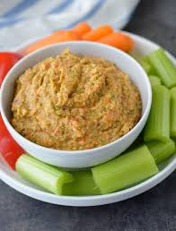 this y roasted red pepper hummus is made without tahini and is an easy healthy snack
