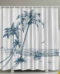 cool fabric shower curtains. Ocean Waves Rocks Desert Island Sketch Pencil Drawing Love Lovely Aquatic Design Navy Teal High Quality Woven Polyester Fabric Shower Curtain *** Be Cool Curtains