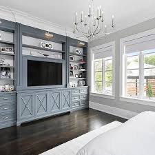 metal gray bedroom built ins with polished nickel picture lights