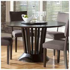 stunning dark brown wooden round pedestal standing dining table for your dining room