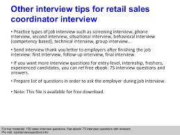 Retail Job Interview Tips Retail Sales Coordinator Interview Questions And Answers