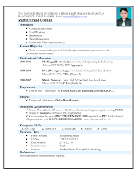 Resume Format For Mechanical Engineering Freshers It Free Download