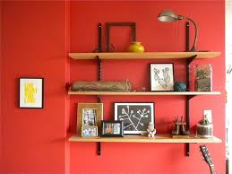 Decorations:Astonishing Brown Wooden Floating Wall Shelves Design Ideas  Splendid Wall Shelves Ideas With Red