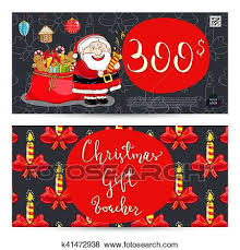 Christmas Gift Coupon Christmas Gift Voucher With Prepaid Sum Template Clip Art