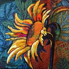 1263 best Art Quilts images on Pinterest | Quilt art, Art quilting ... & Sunflower - Mini quilt done almost totally with bits of Kaffe Facett fabric  by Nancy Messier. Adamdwight.com
