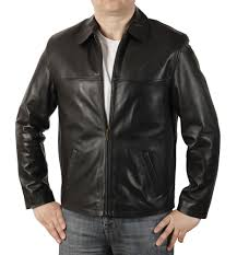 sl1115 mens plain style black leather jacket