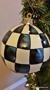 Christmas Design Checks Hand Painted Christmas Ornaments Black And White Checks
