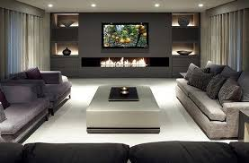 modern living room with fireplace and tv. Sleek, Modern Living Room. I Love That Back Wall With The Fire Feature, Room Fireplace And Tv G