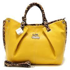 Coach Madison Leopard Large Yellow Satchels ACM Ircwr3Hp