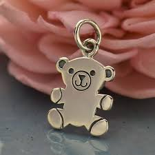 a1555 sv chrm sterling silver teddy bear charm animal charm flat