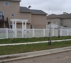 Vinyl solid picket fence White The American Fence Company Vinyl Fencing Arbor And Closed Picket Afc Sd Great Falls Fence Picket Fence The American Fence Company