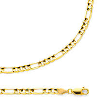 Light Figaro Chain Details About Figaro Chain Solid 14k Yellow Gold Necklace Concave Link Light 4 5 Mm