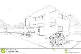 Villa Sketch Design Sketch Of Modern House Villa Terrace And Garden Stock