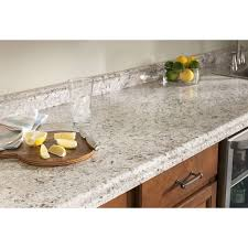 transitional kitchen design with white carrara formica laminate countertops dark brown round cutting board