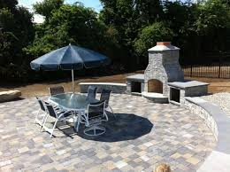 circular patio integrated capped wall seating and outdoor fireplace throughout circular outdoor fireplace