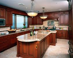 top 77 sophisticated kitchen colors with cherry cabinets blue painting ideas frosted glass cabinet hickory kitchens brown varnished wood range hood floating