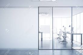 Modern Simple Office Interior With Glass Doors, Blank Wall With ...