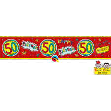 Banner Birthday Banner Happy Birthday 50 Rot Holographic 2 6 M