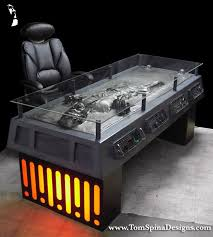 han solo in carbonite desk themed coffee table furniture charity auction mark hall casting