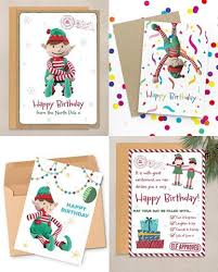 Christmas Birthday Cards Personalised Elf Birthday Cards Personalised Christmas