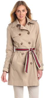 tommy hilfiger women s double ted trench coat with striped belt visuall co