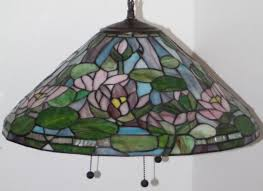 lot 104 vintage tiffany style 3 arm leaded glass hanging chandelier
