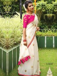 Designer Wall Sarees 1243f Cream And Deep Pink Designer Chanderi Silk Saree